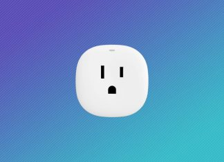 Samsung Smartthings smart plug with gradient background